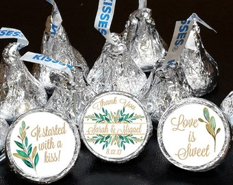 108 Hershey Kiss® Stickers - Wedding Favors, Shower Favors, Hugs® and Kisses®, Green Leaves Gold Leaves Love is Sweet Thank You