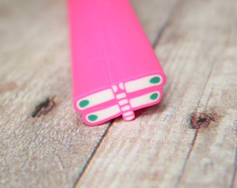 large polymer clay cane dragonfly pink white blue BIG 9mm for decoden and kawaii crafts scrapbooking resin jewelry uncut DIY