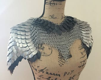 Made to Order - Women's Scalemaille Armor,  Larp Armor, Renaissance Armor, Dragon Armor, Elven Armor, Warrior Costume in Black and Silver