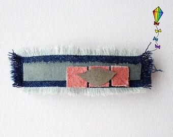 Large Hair Clip Denim & Reclaimed Leather - Dawn Window Design