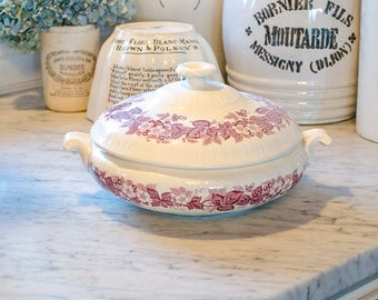 Vintage Purple Transferware Tureen, Ironstone, Wedgwood, English