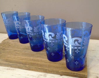 Large vintage, retro, midcentury, frosted, two tone cobalt blue tumblers / 5 dark blue drinking glasses / water, iced tea glasses