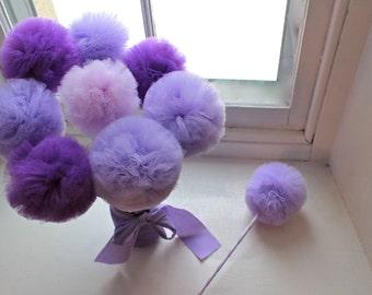 Ultra Violet Purple and Lavender Princess Party Wands, PREMIUM Tulle Pom Pom Princess Wand, Party Favors, Centerpiece, 10 Pc Set