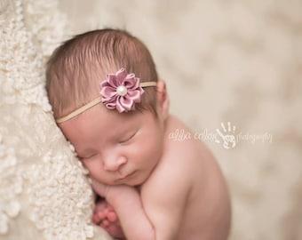 Baby Headband, Pearl Headband, Newborn Headband- Mauve Satin Flower Baby Headband