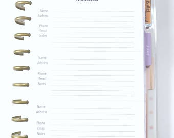 Address Book, Contacts Inserts for the Medium, Classic Happy Planner, Discbound Planner