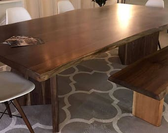"Live Edge Dining Table Walnut Slab Book Matched, Custom Walnut Slab Live Edge Dining Table with solid Walnut ""V"" Base free shipping"