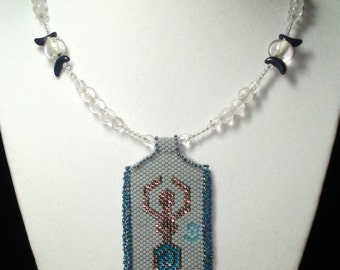 """Triple Moon Goddess 20"""" necklace with peyote-stitched pendant"""