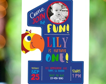 First Birthday Vocabularry BabyFirst TV with Photo Invitation | Rainforest Party | Rainbow Party | Printable Digital InInvitation