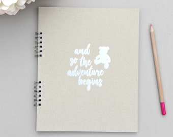 """Fast Shipping > Baby Memory Book Baby Journal Pregnancy. 9.5"""" x 7.5"""" Flat-lay Spiral 110 Blank pgs. Rustic Baby Decor Woodland Nursery Gift."""