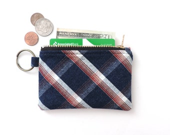 Keychain Wallet Coin Purse Zipper Pouch Blue Plaid
