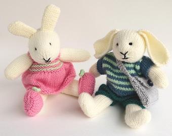 Rabbit Knitting Pattern, Toy Knitting Pattern, Knitted Rabbit Pattern, Softie PDF Pattern, Stuffed Animal Knitting Patterns  ROBERT & ROSIE