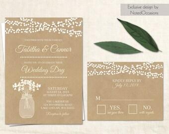 Rustic Wedding Invitation Printable Country Wedding Invitation Digital file Kraft Paper wedding invitation suite Mason Jar Wedding Cream