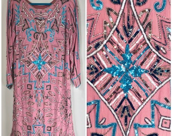Pink silk and sequin dress - handmade vintage sequin dress