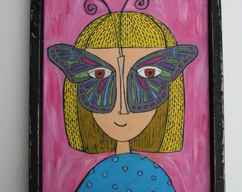 READY TO SHIP Folk art painting, butterfly mask, 11 x14, canvas, original painting, acrylic paint, folk art