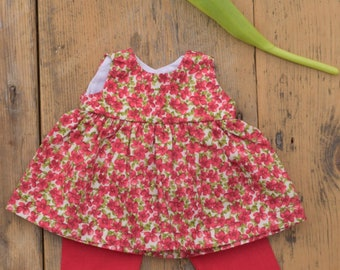"Waldorf Doll dress, for 14"" and 16"" dolls, red floral, Tunic"