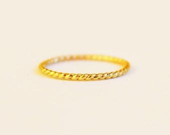 14K Gold Filled Twist Ring - Gold Rope Ring - God Twist Stacking Ring