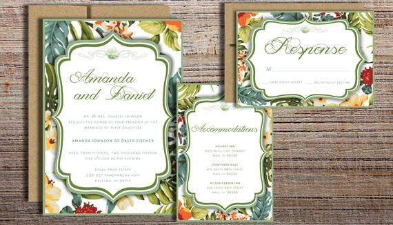 tropical flowers invitation suite printed wedding invitation