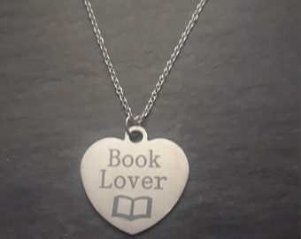Necklace - Book Lover Heart Pendant - Necklace - Various Lengths - Book Lover - Gift - Heart