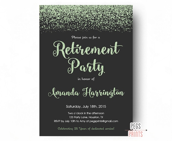 mint glitter retirement party invitation retirement party
