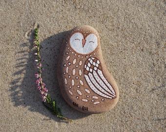 rock owl, painted rock art, painted owl rock, painted owl stone, pebble art, owl art, owl illustration