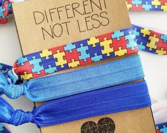 Set of 3 Different Not Less / Autism Awareness / Light It Up Blue /Elastic Hair Tie / Creaseless Hair Tie / Bracelet