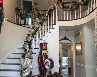 Christmas Garland Swag, Luxury Lighted Staircase Holiday Decor, SHIPPING  INCLUDED Elegant Gold Silver Holiday