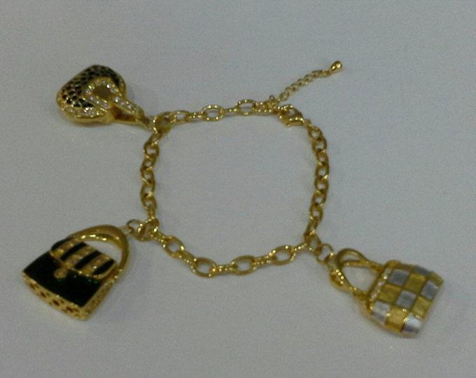 Gorgeous Charm Bracelet Gold Plate With Miniature Enamel & Diamante Purses Handbags