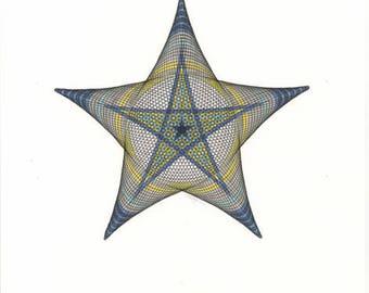 Original Hand Drawn Star, Geometric Star Art, Black, Blue, Yellow, Decorative Star Artwork, Original Ink Drawing, 11x14