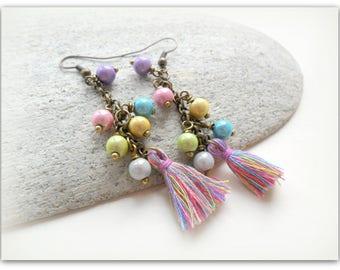 Boho Festival Rainbow Pastel Tassel Bronze Charm Earrings Etsy UK Earrings UK Festival Jewelry Tassel Earrings Tassel Jewellery