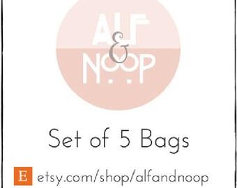 Set of 5 Favor Bags