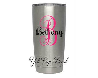 Yeti Cup Decal, Monogram Decal, Personalized Sticker,Name Decal, Preppy, Deer, Stag, RTIC Cup Sticker, Tumbler, Personalized Monogram Decal