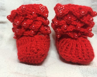 Handmade Crochet  Crocodile Stitch Red Beaded Baby Boots/Shoes/Slippers   Size 0-6/6-12 Months Old