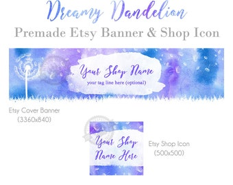Dandelion Etsy Shop Cover Banner and Icon Set of Graphics for Etsy Stores with Blue and Purple Whimsical Watercolor Handmade Shops