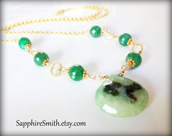 EMERALD CITY Necklace, Emerald & Solar Quartz Briolette Wire Wrapped Necklace, green precious gemstones, stalactite focal bead
