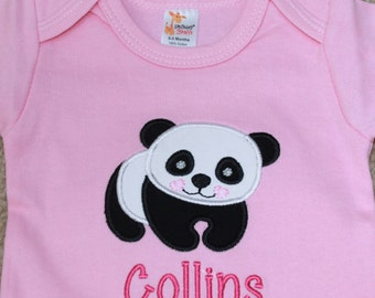 Personalized Applique Baby Onepiece Bodysuit - Panda