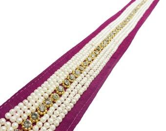 Indian Trim By The Yard, Magenta Fabric, Embellishments Metallic Trim, Sewing Crafts Ribbon Trim, Decorative Sari Border, Beaded Trim BT627B