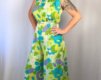 Vintage 60s Floral Jumpsuit Size M