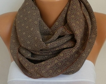 Mother's Day Gift,Milky Brown Chiffon Infinity Scarf,Cowl,Circle Loop Scarf Gift Ideas For Her,Women Fashion Accessories,clothing gift