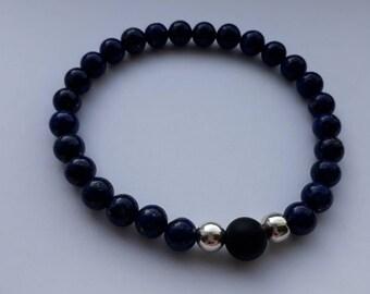Lapis Lazuli, Onyx and sterling silver stretch bracelet