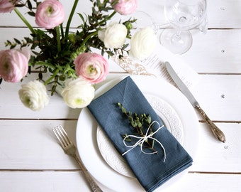 Blue Linen Napkins set of 6 for Your Dinning and Kitchen