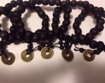 5x Set of Tibetan Burned wood mala bead coin bracelet