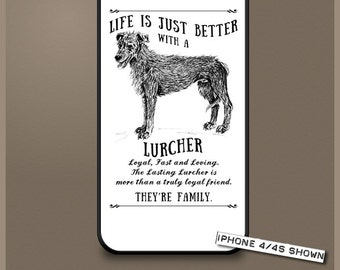 Lurcher dog phone case cover iPhone Samsung ~ Can be Personalised