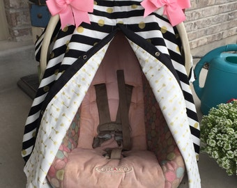 Car seat canopy Black and Gold , Car seat cover , car seat canopy , carseat cover , carseat canopy , nursing cover