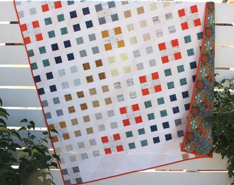 """Modern quilt pattern - """"Patch Nine"""" - a modern take on a traditional design - Jelly Roll friendly - 62"""" x 78"""" - Instant download PDF"""