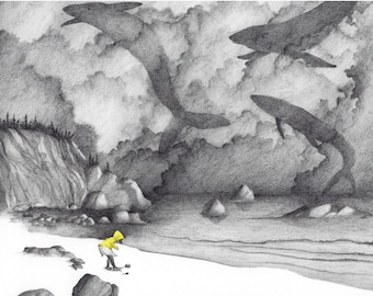 """8x10 Giclee Illustrated Print of Girl with Whales, """"February"""""""