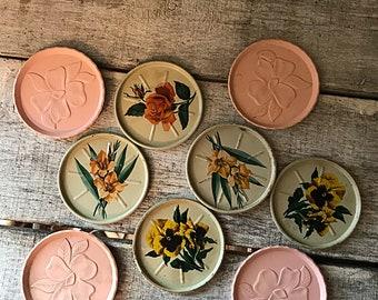 Vintage Floral Coasters, Vintage Metal Coasters,