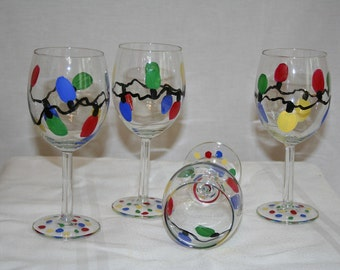 christmas lights hand painted wineglass