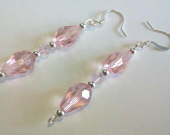 Pink Dangle Earrings, Rose Petal Pink Faceted Teardrop Earrings, Pink Glass Beaded Jewelry, Wedding Jewelry