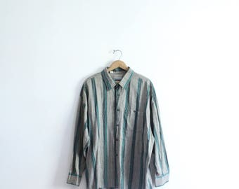 Loose Striped 80s Button Down Shirt