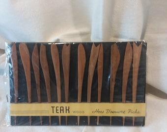 Vintage Teak Wood Hors d'oeuvres picks mint in package.....Wow